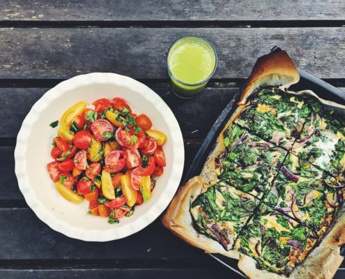 Egg Tortilla and tomato salad